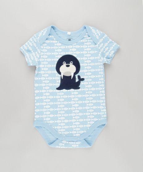 Body-Estampado--Leao-Marinho--em-Algodao---Sustentavel-Azul-Claro-8612335-Azul_Claro_1