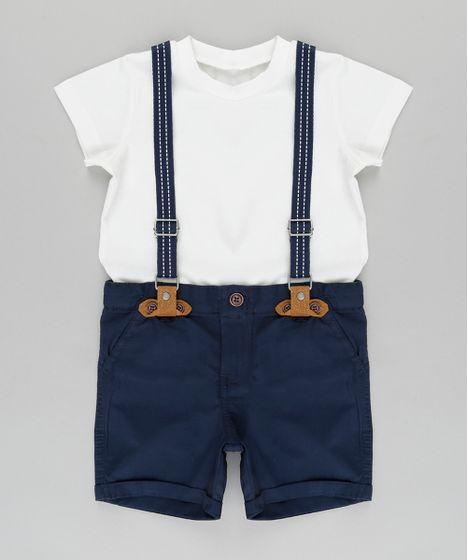 Conjunto de Camiseta Off White + Bermuda com Suspensório Azul ... c917a5956f6d