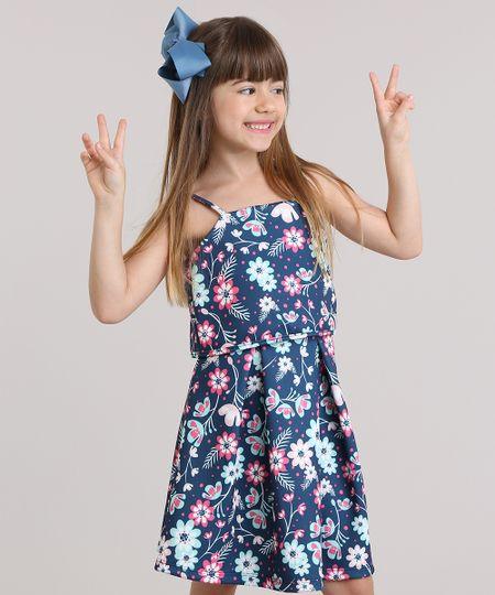 Vestido Estampado Floral Com Babado Azul Marinho