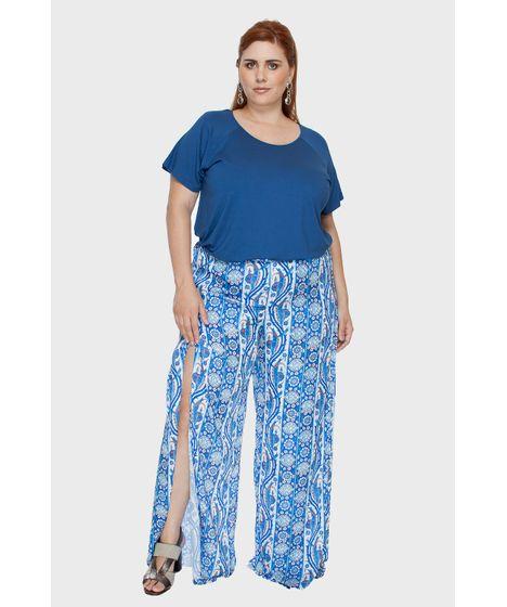 8a652ccbd Calça Pantalona Seda Estampada Plus Size - cea