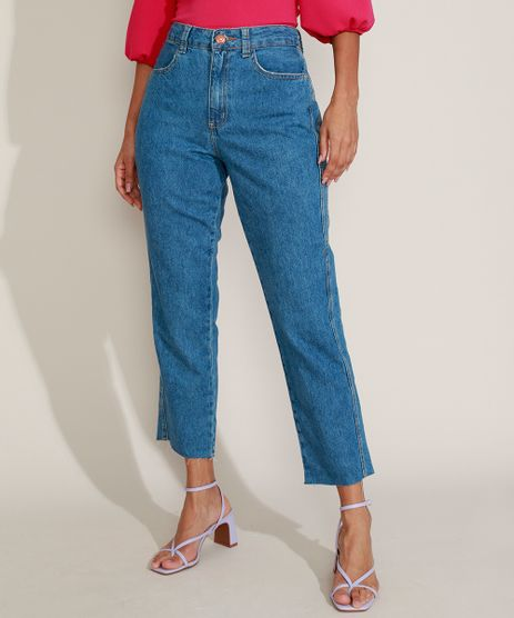 Calca-Jeans-Feminina-Reta-Cropped-Cintura-Alta-com-Barra-Desfiada-Azul-Medio-9963984-Azul_Medio_1