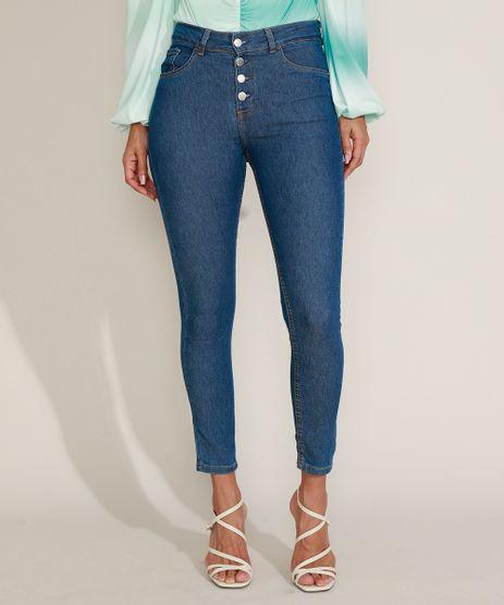 Calca-Jeans-Feminina-Cigarrete-Cintura-Alta-com-Botoes-Azul-Medio-9964525-Azul_Medio_1