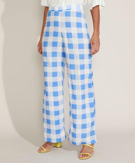 Calca-Feminina-Pantalona-Cintura-Alta-Estampada-Xadrez-Azul-Claro-9960091-Azul_Claro_1