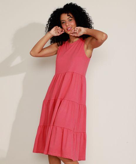 Vestido-Feminino-Midi-com-Lastex-e-Recortes-Alca-Larga-Vermelho-9970719-Vermelho_1