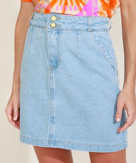 Saia-Jeans-Feminina-Curta-com-Bolsos-Azul-Claro-9976428-Azul_Claro_1