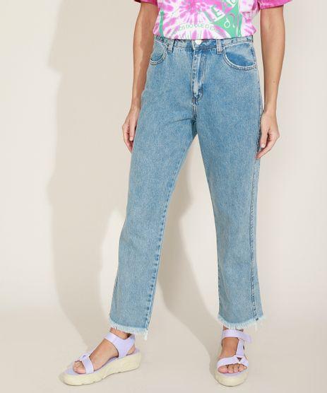 Calca-Jeans-Feminina-Reta-Cropped-Cintura-Alta-com-Barra-Desfiada-Azul-Medio-9963982-Azul_Medio_1