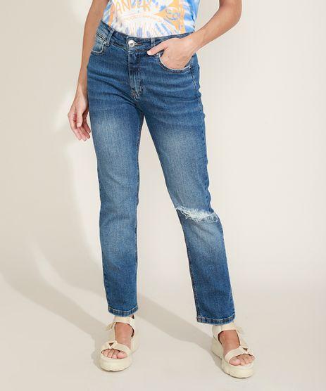 Calca-Jeans-Feminina-Reta-Cintura-Alta-Destroyed-Azul-Escuro-9969005-Azul_Escuro_1