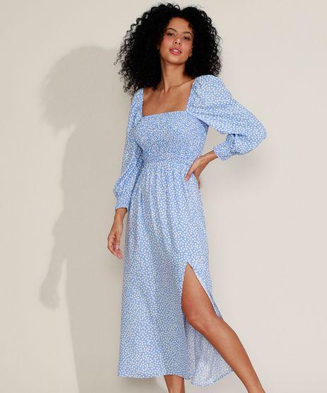 Vestido-Feminino-Midi-Estampado-de-Poa-com-Fenda-Manga-Bufante-Azul-Claro-9960928-Azul_Claro_1