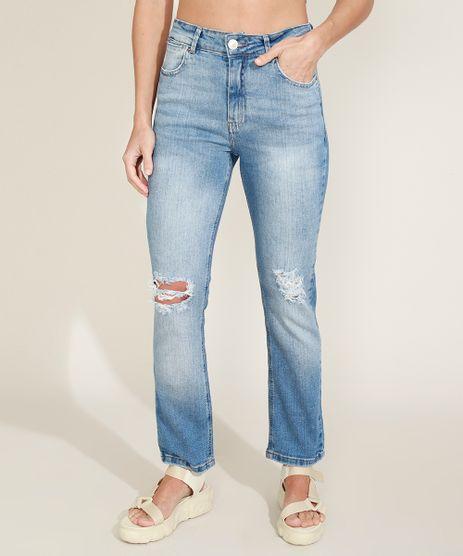 Calca-Jeans-Feminina-Reta-Cintura-Alta-Destroyed-Azul-Claro-9969007-Azul_Claro_1