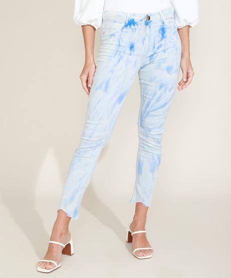 Calca-Jeans-Feminina-Sawary-Cigarrete-Push-Up-Cintura-Alta-Estampada-Tie-Dye-Azul-Claro-9976429-Azul_Claro_1