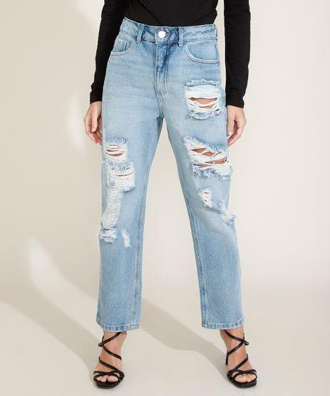 Calca-Jeans-Feminina-Reta-Cintura-Alta-Destroyed-com-Bolsos-Azul-Claro-9964977-Azul_Claro_1