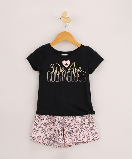Conjunto-Infantil-Princesas-de-Blusa--We-Are-Courageous--Manga-Curta-com-No-Preta---Short-Estampado-Rosa-Claro-9962343-Rosa_Claro_1