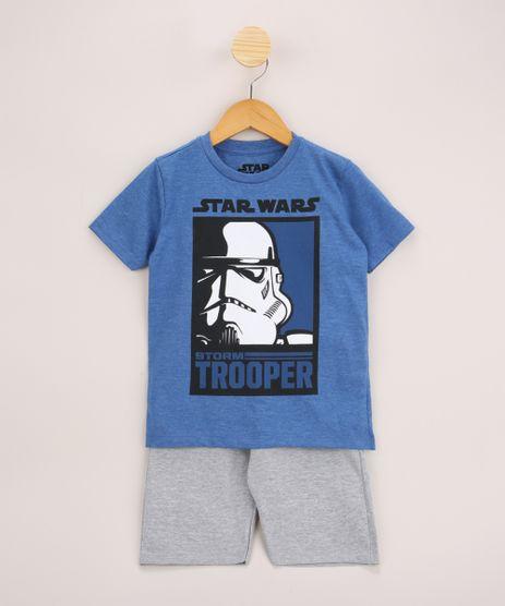 Conjunto-Infantil-de-Camiseta-Star-Wars-Manga-Curta-Azul---Bermuda-de-Moletom-Cinza-Mescla-9968192-Cinza_Mescla_1