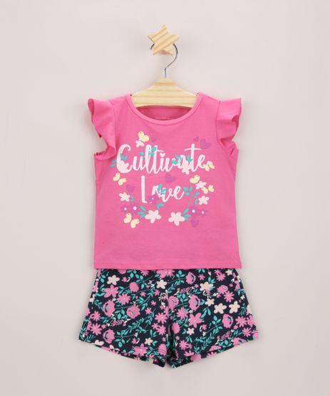 Conjunto-Infantil-de-Blusa--Cultivate-Love--com-Glitter-Manga-Curta-Pink---Short-Estampado-Floral-Azul-Marinho-9969017-Azul_Marinho_1