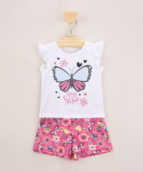 Conjunto-Infantil-de-Blusa-Borboleta-com-Glitter-Manga-Curta-Off-White---Short-Estampado-de-Borboletas-Pink-9969030-Pink_1