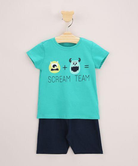 Conjunto-Infantil-de-Camiseta-Monstros-S-A-Manga-Curta-Verde---Bermuda-de-Moletom-Azul-Marinho-9963483-Azul_Marinho_1