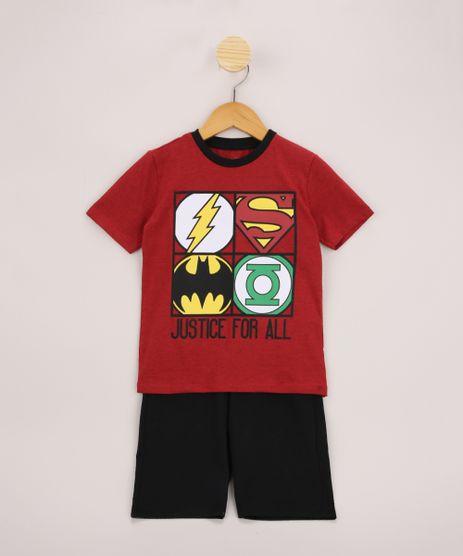 Conjunto-Infantil-de-Camiseta-Liga-da-Justica-Manga-Curta-Vermelha---Bermuda-de-Moletom-Preta-9968188-Preto_1