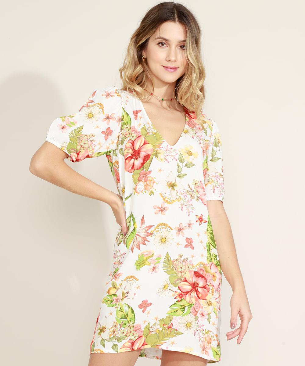 Vestido Feminino Curto Estampado Floral Manga Bufante Off White
