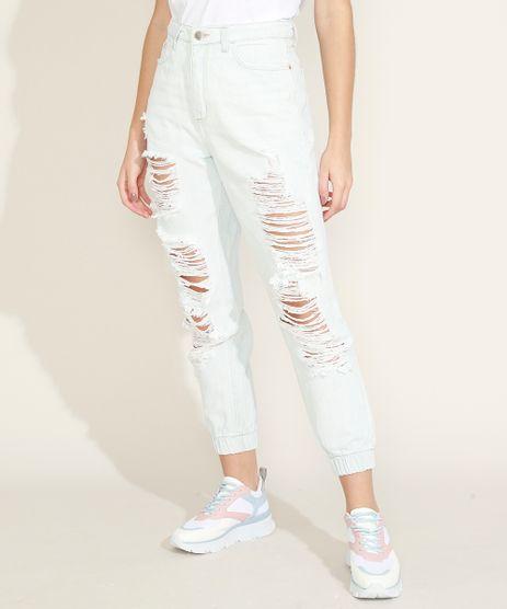 Calca-Jeans-Feminina-Mom-Jogger-Cintura-Super-Alta-Destroyed-Azul-Claro-9964978-Azul_Claro_1