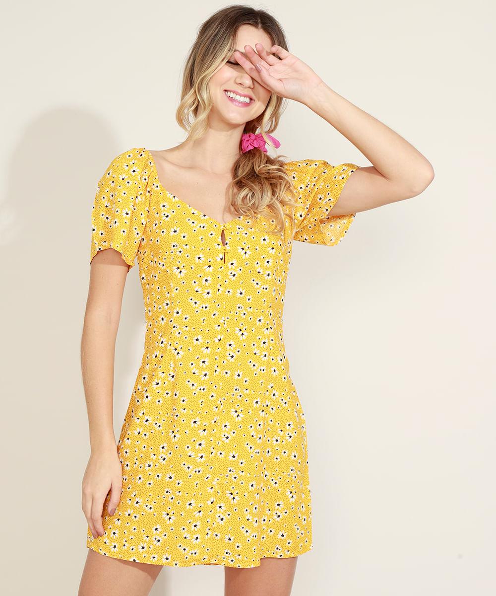 Vestido Feminino Curto Estampado Floral Manga Bufante Amarelo