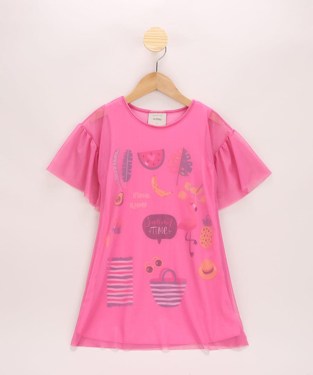"""Vestido de Tule Infantil Summer Time"""" com Babado na Manga Pink"""""""