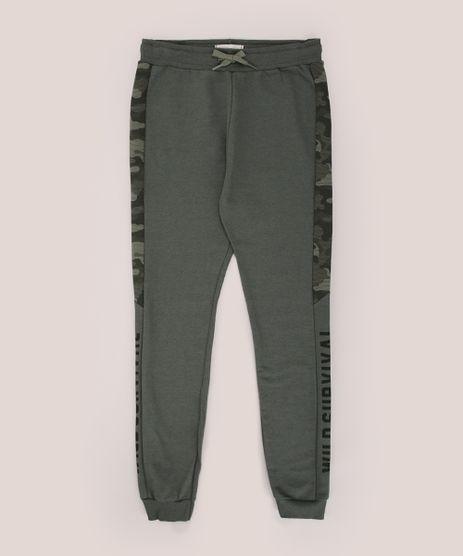 Calca-de-Moletom-Juvenil-Jogger-com-Recorte-Verde-Militar-9955567-Verde_Militar_1