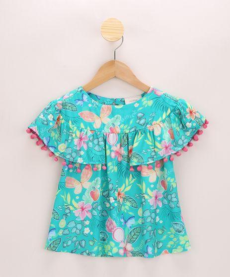 Blusa-Infantil-Ampla-Estampada-Floral-com-Pompom-Manga-Curta-Verde-9965257-Verde_1