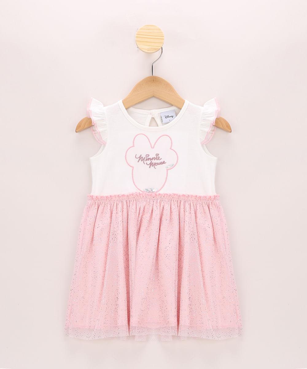 Vestido de Tule Infantil Minnie com Brilho e Babado Sem Manga Off White