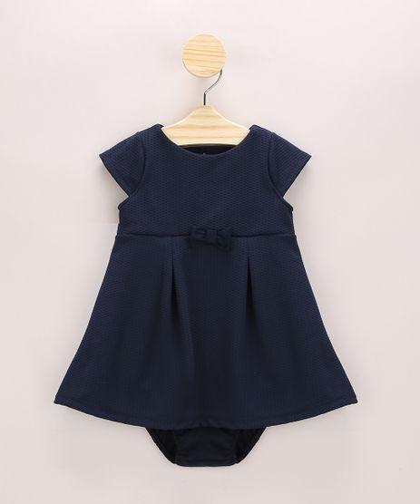 Vestido-Infantil-Texturizado-com-Pregas-e-Laco-Manga-Curta---Calcinha-Azul-Marinho-9967802-Azul_Marinho_1
