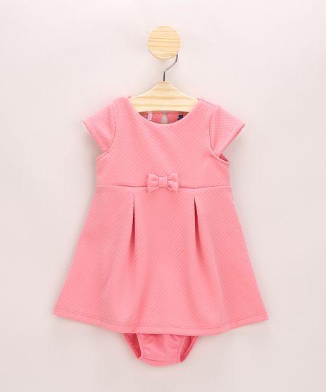 Vestido-Infantil-Texturizado-com-Pregas-e-Laco-Manga-Curta---Calcinha-Rosa-9967803-Rosa_1