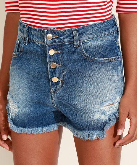 Short-Jeans-Feminino-Sawary-Reto-Cintura-Media-Destroyed-com-Botoes-e-Barra-Desfiada-Azul-Medio-9974051-Azul_Medio_1