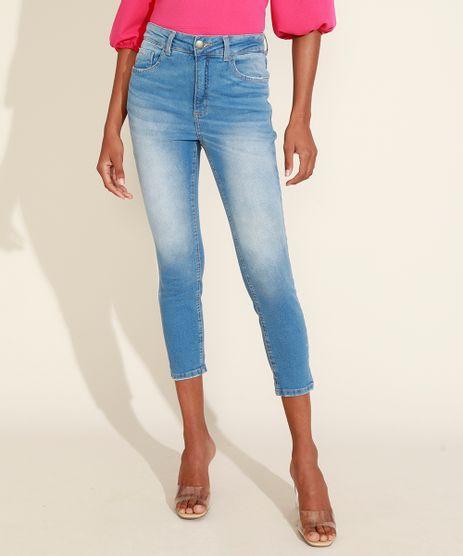 Calca-Jeans-Feminina-Cropped-Cintura-Alta-com-Lenco-Azul-Claro-9966000-Azul_Claro_1