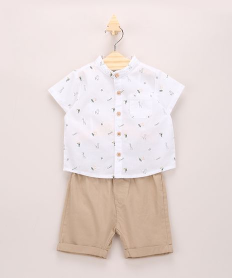 Conjunto-Infantil-de-Camisa-Manga-Curta-Gola-Portuguesa---Bermuda-com-Bolsos-Bege-Claro-9952406-Bege_Claro_1