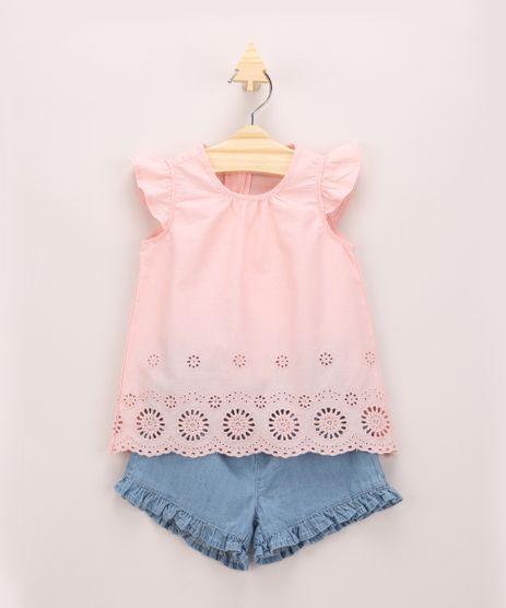 Conjunto-Infantil-de-Blusa-com-Vazados-Manga-Curta-Rosa---Short-Jeans-com-Babados-Azul-Claro-9952402-Azul_Claro_1