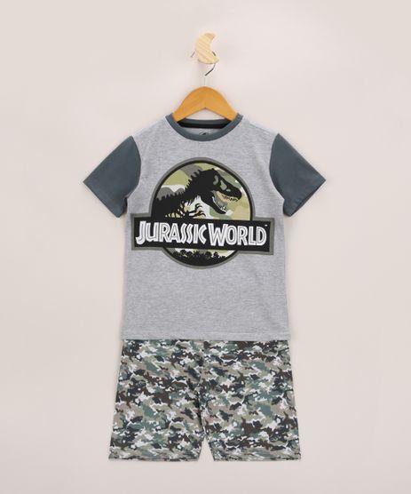 Pijama-Infantil-Raglan-Jurassik-Park-Manga-Curta-Cinza-Mescla-9960298-Cinza_Mescla_1