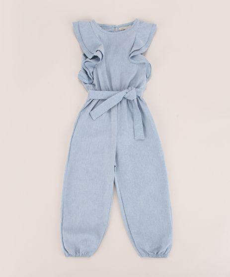 Macacao-Jeans-Infantil-com-Babados-e-Faixa-para-Amarrar-Manga-Curta-Azul-Claro-9953577-Azul_Claro_1