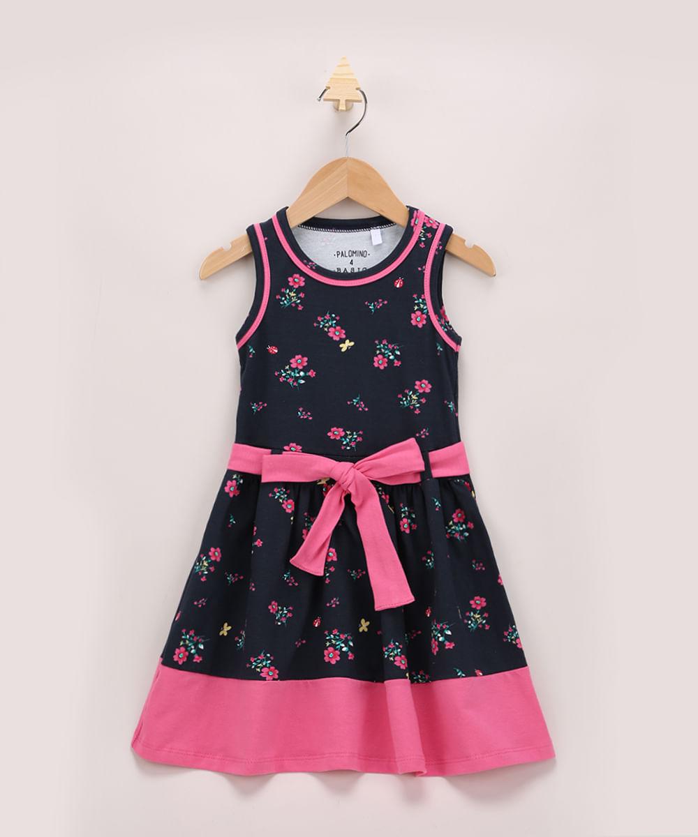 Vestido Infantil Estampado Floral com Recortes e Faixa para Amarrar Sem Manga Azul Marinho