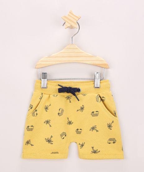Short-de-moletom-Infantil-Estampada-de-Veiculo-com-Cordao-e-Bolsos-Amarelo-9957222-Amarelo_1