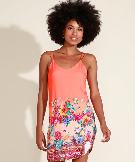 Vestido-Feminino-Curto-Estampado-Floral-Alca-Cruzada-Laranja-9968011-Laranja_1