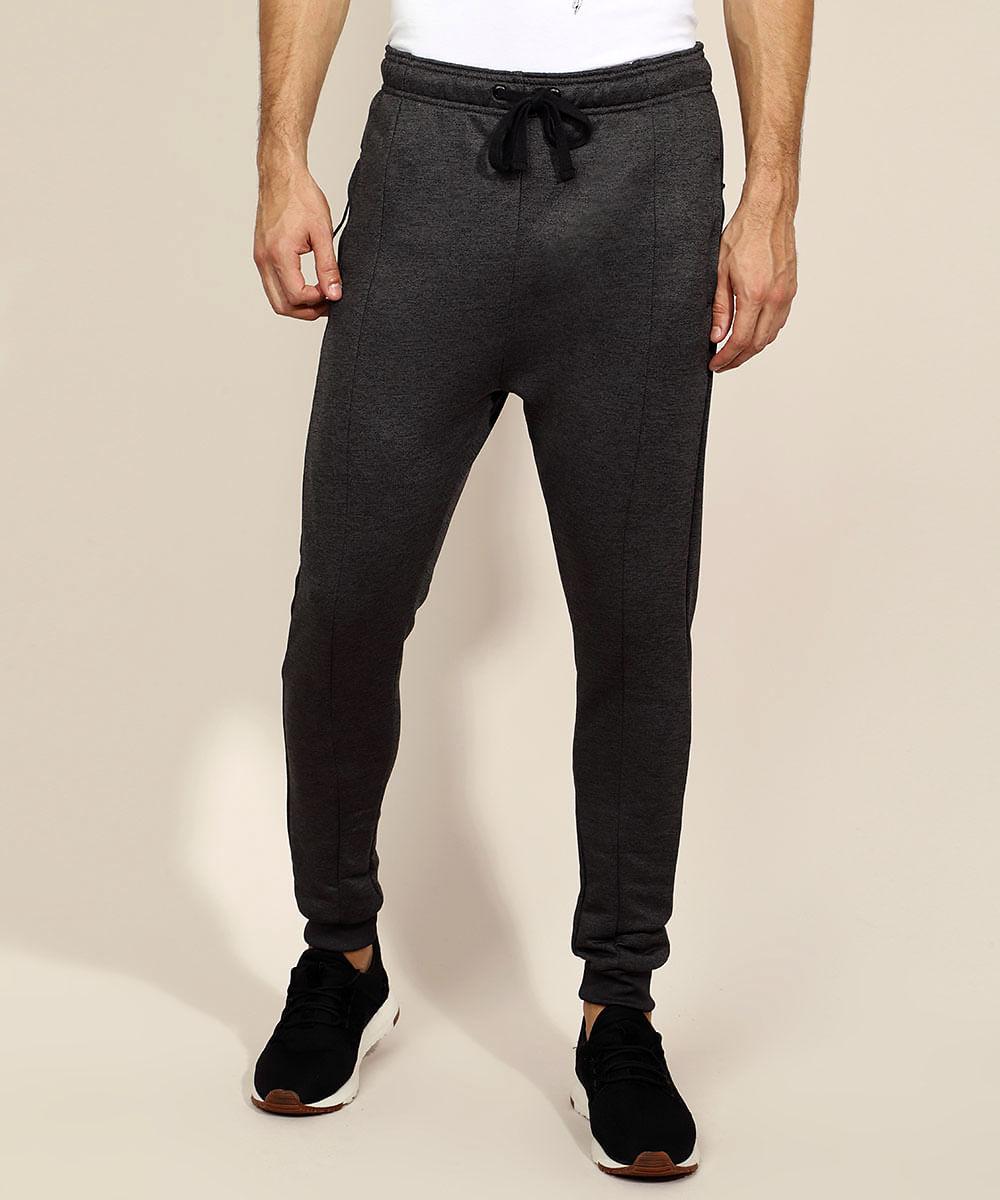 Calça de Moletom Masculina Relaxed Slim com Recortes e Bolsos Cinza Mescla Escuro