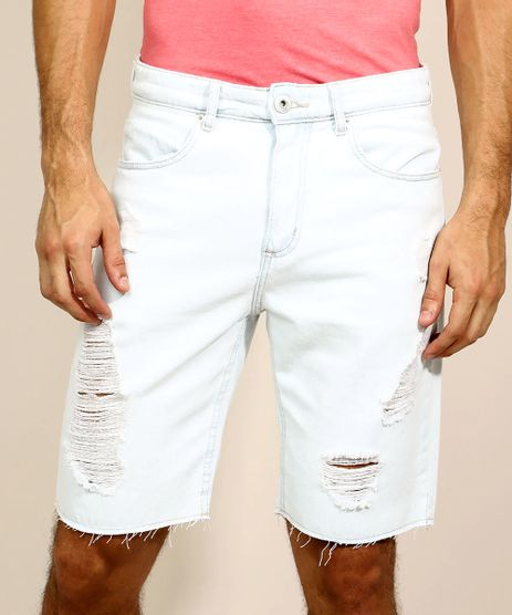 Bermuda-Jeans-Masculina-Slim-com-Bolsos-Destroyed-Azul-Claro-9967139-Azul_Claro_1