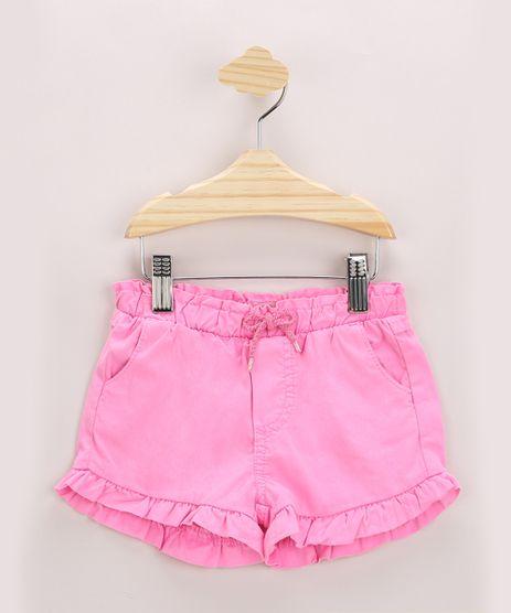 Short-Infantil-em-Sarja-com-Babado-Bolsos-e-Cordao-Rosa-Neon-9972462-Rosa_Neon_1