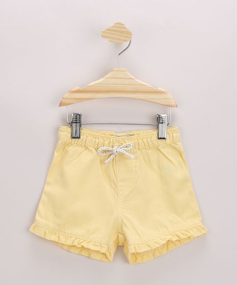 Short-Infantil-em-Sarja-com-Babado-e-Cordao-Amarelo-9967152-Amarelo_1