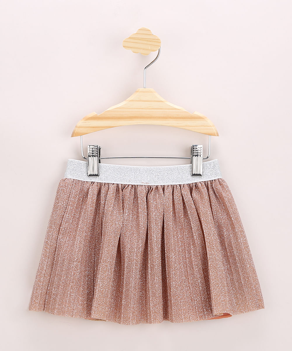 Saia Infantil Curta Plissada com Glitter Rosa