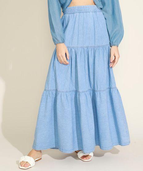 Saia-Jeans-Feminina-Longa-Com-Recortes-e-Elastico-Azul-Claro-9972222-Azul_Claro_1