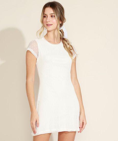 Vestido-Feminino-Curto-em-Tule-de-Poa-Manga-Curta-Decote-Redondo-Off-White-9966380-Off_White_1