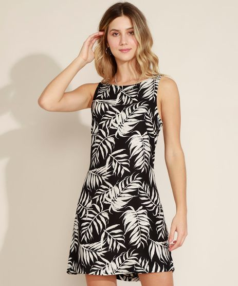 Vestido-Feminino-Curto-Estampado-Folhagem-Alcas-Medias-Preto-9960150-Preto_1