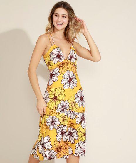 Vestido-Feminino-Midi-Estampado-Floral-com-Recorte-Vazado-Decote-V-Alcas-Finas-Amarelo-9963528-Amarelo_1