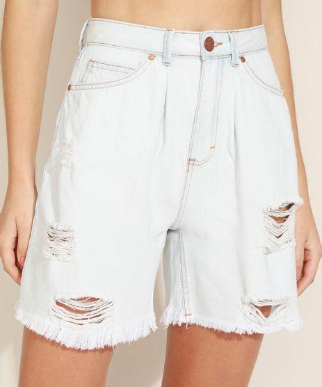 Bermuda-Jeans-Feminina-Cintura-Alta-Com-Pregas-Destroyed-Azul-Claro-9971538-Azul_Claro_1