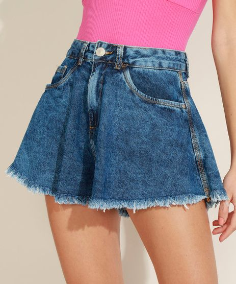 Short-Jeans-Feminino-Gode-Cintura-Super-Alta-com-Barra-Desfiada-Azul-Medio-9974820-Azul_Medio_1